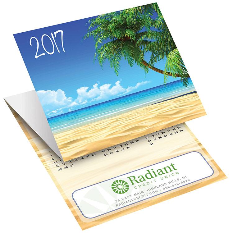 Tri-fold calendar card for bank promotion