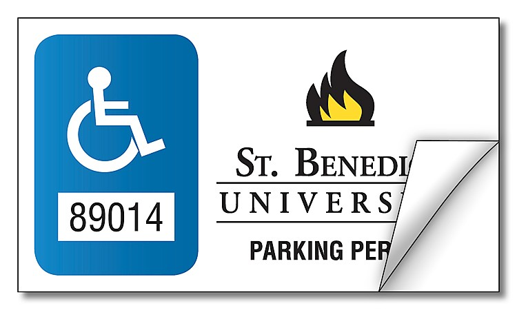 School White Vinyl Parking Permit Sticker / Decal - UV-Coated Vinyl - 3.5x2