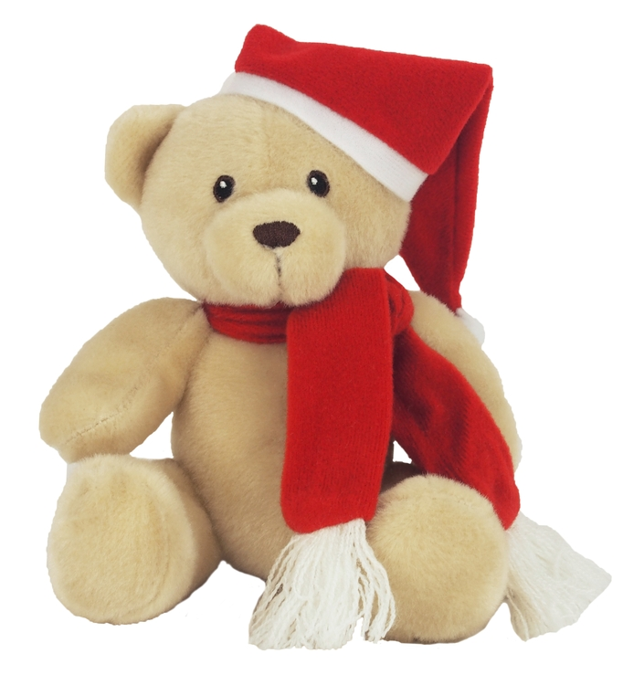 6 Tan Honey Bear with Santa Hat and Red Scarf