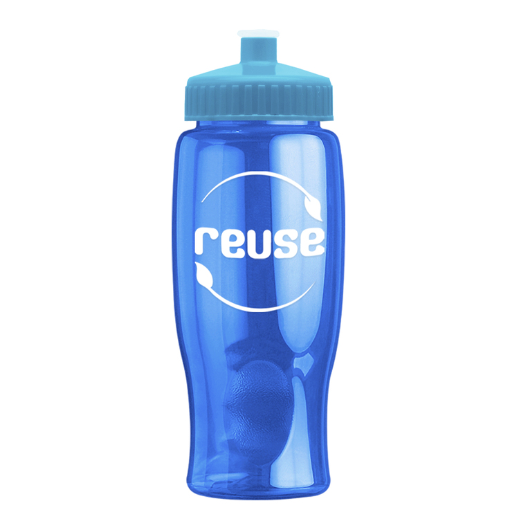 27 Oz Transparent Poly-pure Bottle with Push-Pull Lid