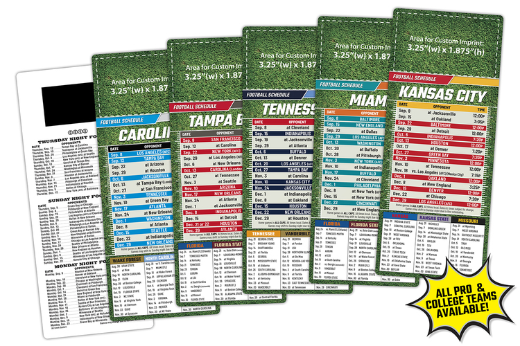 Sports Laminated Card - 3.5x8.5 - Football Schedules - 14 pt.