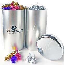 Big Canister Tin filled with Chocolate Kisses 3.5 LB