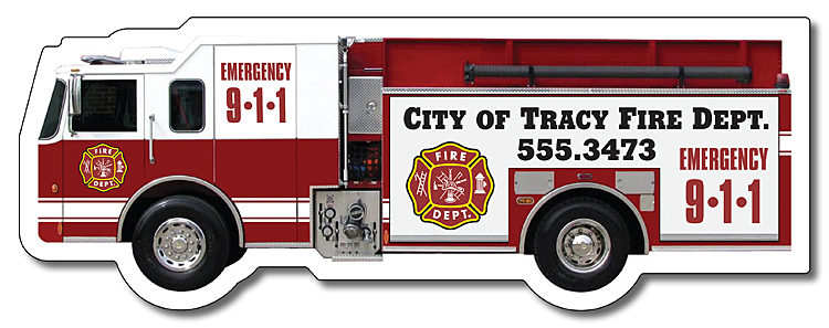 Magnet - Fire Truck Shape (5.125x1.9) - 25 Mil.