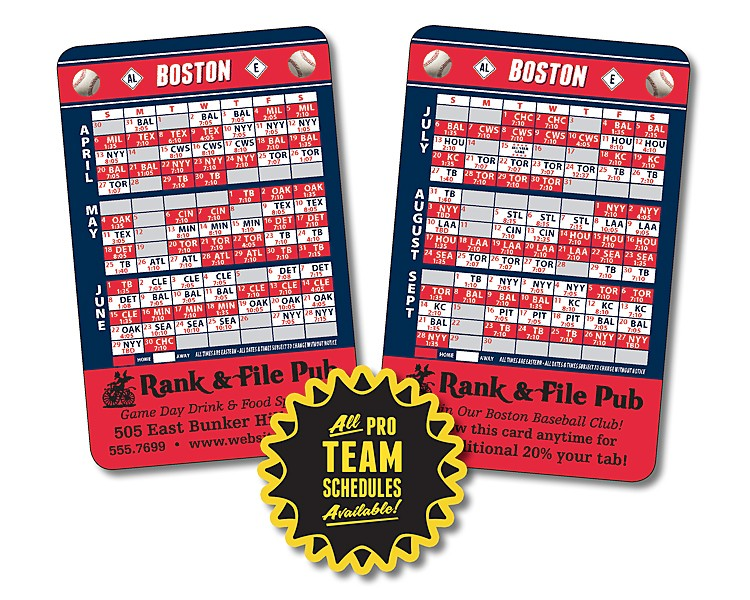 Laminated Wallet Card - 3.5x2.25 Baseball Schedules (2-Sided) - 14 pt.