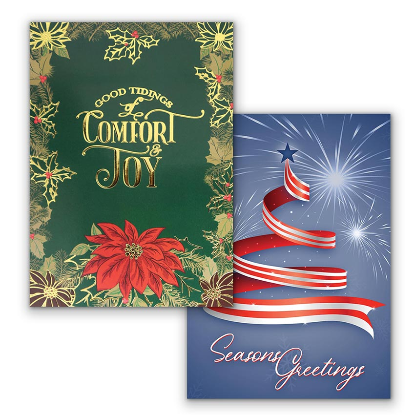 Two vertical Christmas card designs