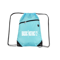 Baby Blue Drawstring Backpacks with Front Zipper Pocket