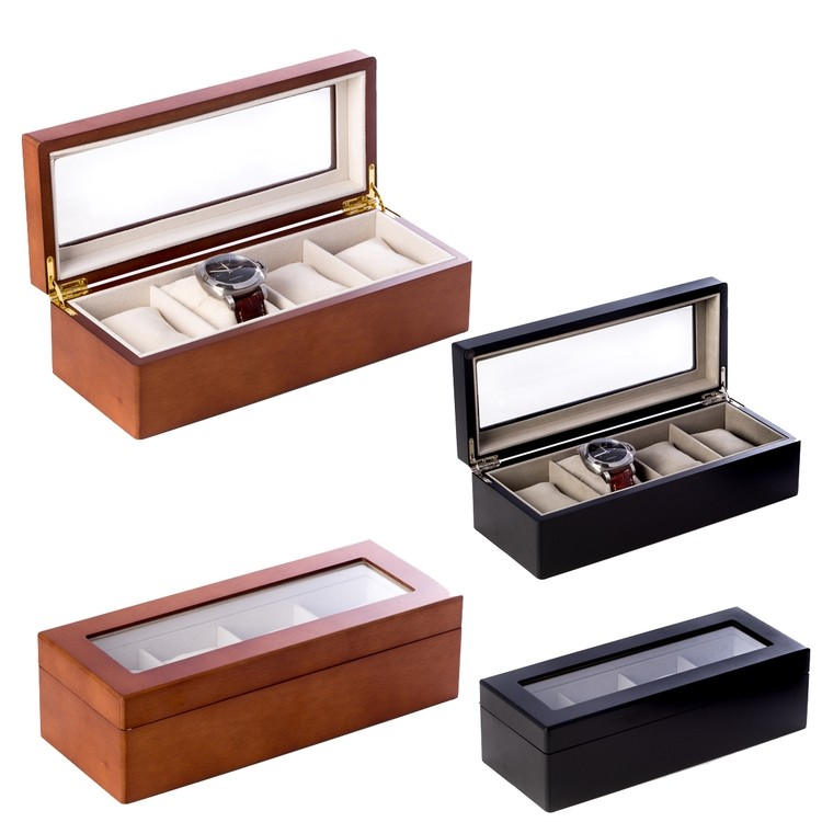 4 Watch Wooden Executive Gift Box with Glass Top