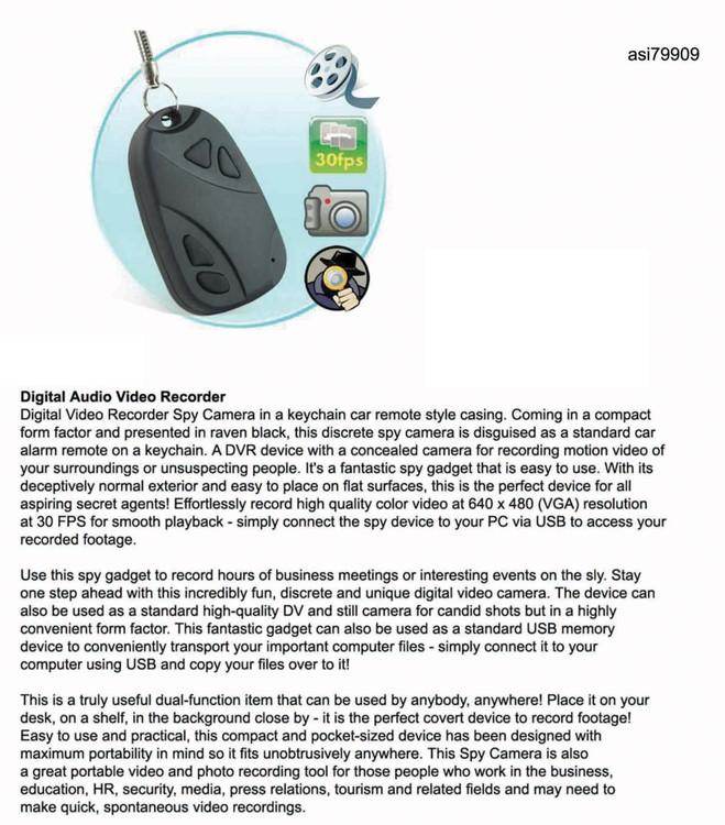 iBank® 1GB Car Remote with Spy Video Camera
