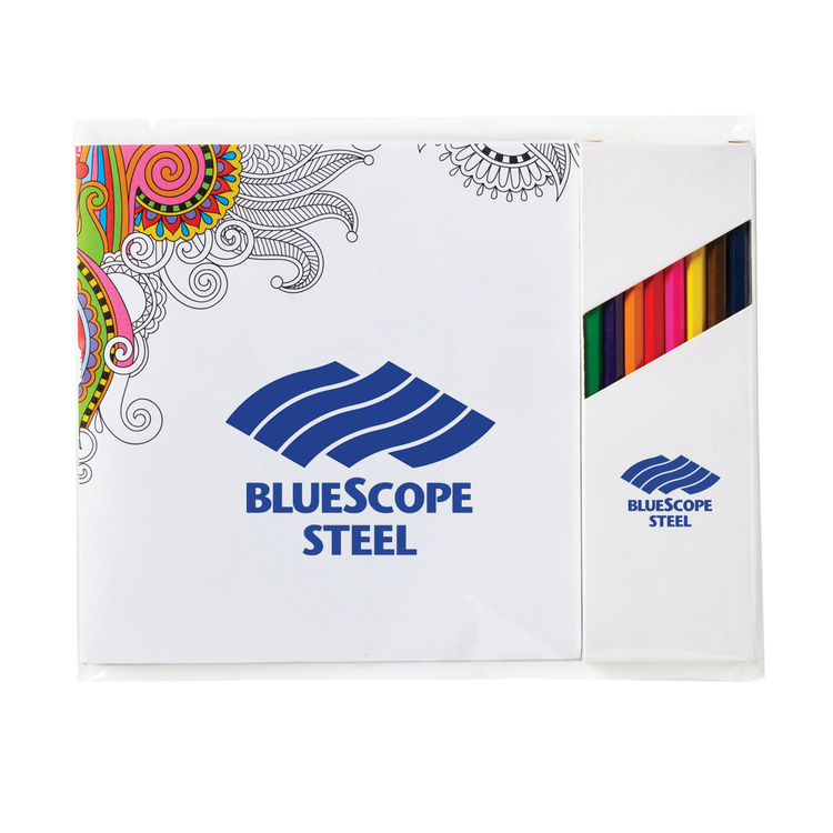Deluxe 7 x 7 Adult Coloring Book & 8-Color Pencil Set