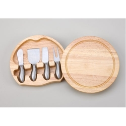 Round Wood Cheese Board w/ a 4 PC S.S. Handled Utensil Set