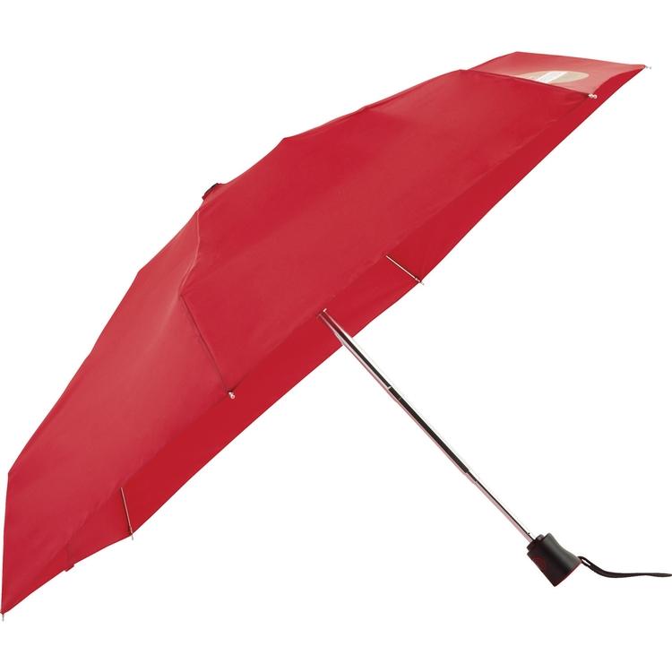 38 Inch totes® Mini 4 Section Folding Auto Open/Close Umbrella CLEARANCE Red