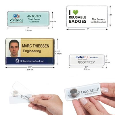 Reusable Name Badges Rectangle - Fast - USA Made Tags - Free Shipping