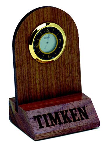 Solid Hardwood Mini Desk Clock -USA