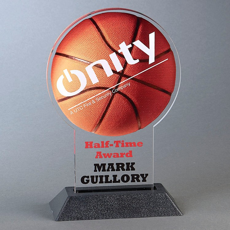 BASKETBALL Snappy up to 24 sq.in. Any Shape Acrylic In A Base