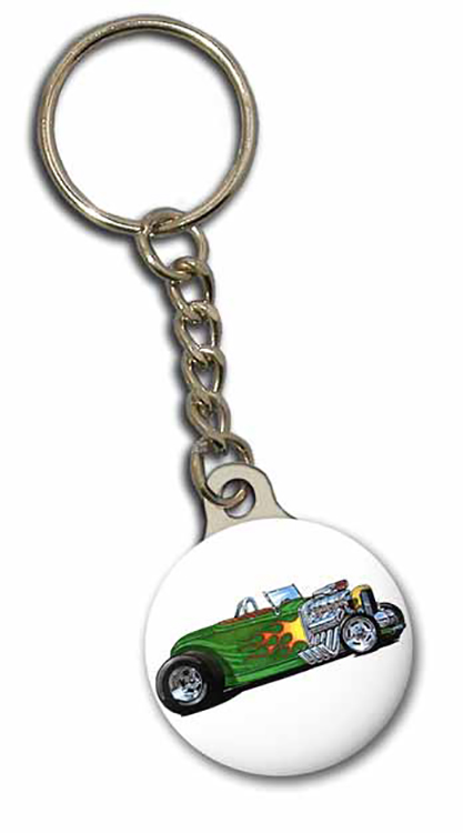 Key Chain / Tag, custom double sided imprint at 1-1/8 diameter with metal backer