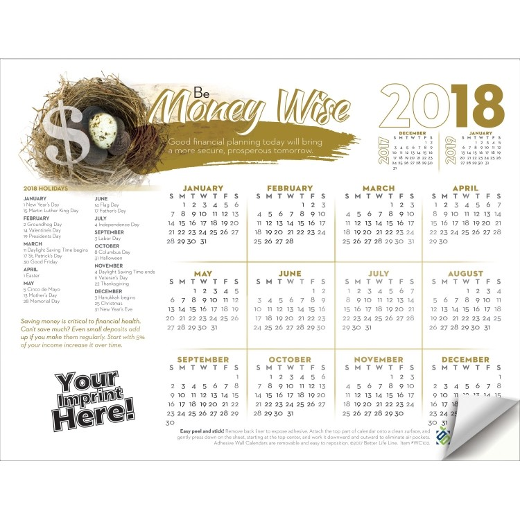 Adhesive Wall Calendar - 2018 Be Money Wise (Financial)