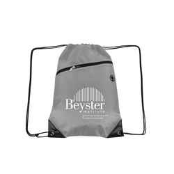 Gray Drawstring Backpacks with Front Zipper Pocket