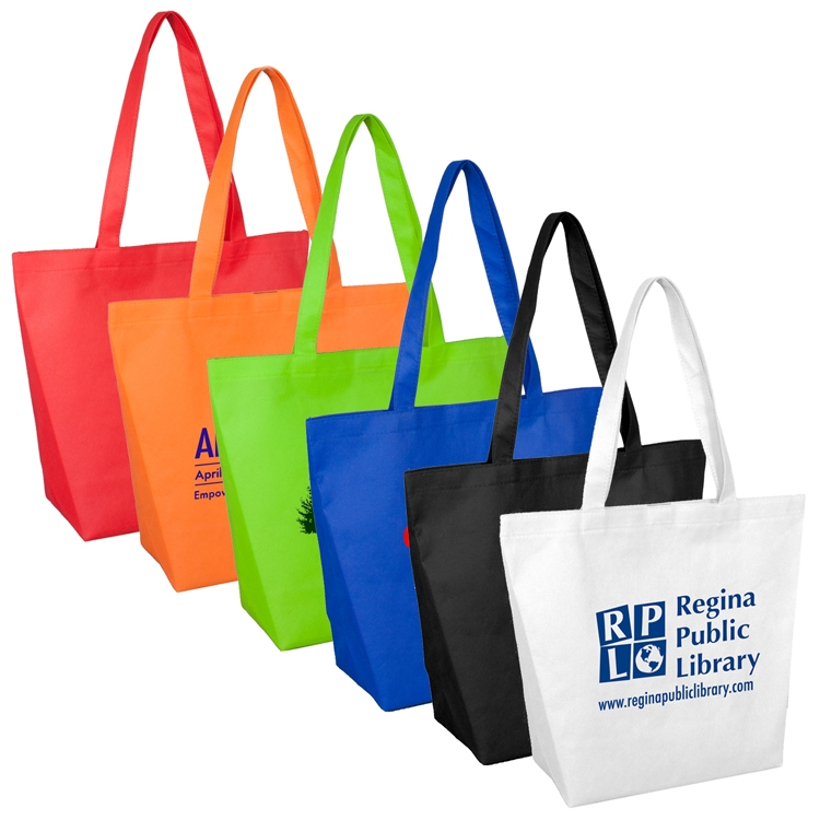 15 W x 12 H - 80GSM Non-Woven Camarillo Gusseted Shopping and Tote Bag with Velcro Closure
