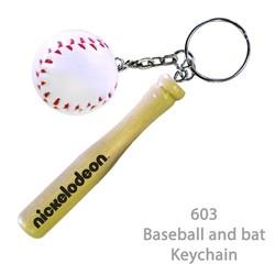 Baseball and Bat Keychain