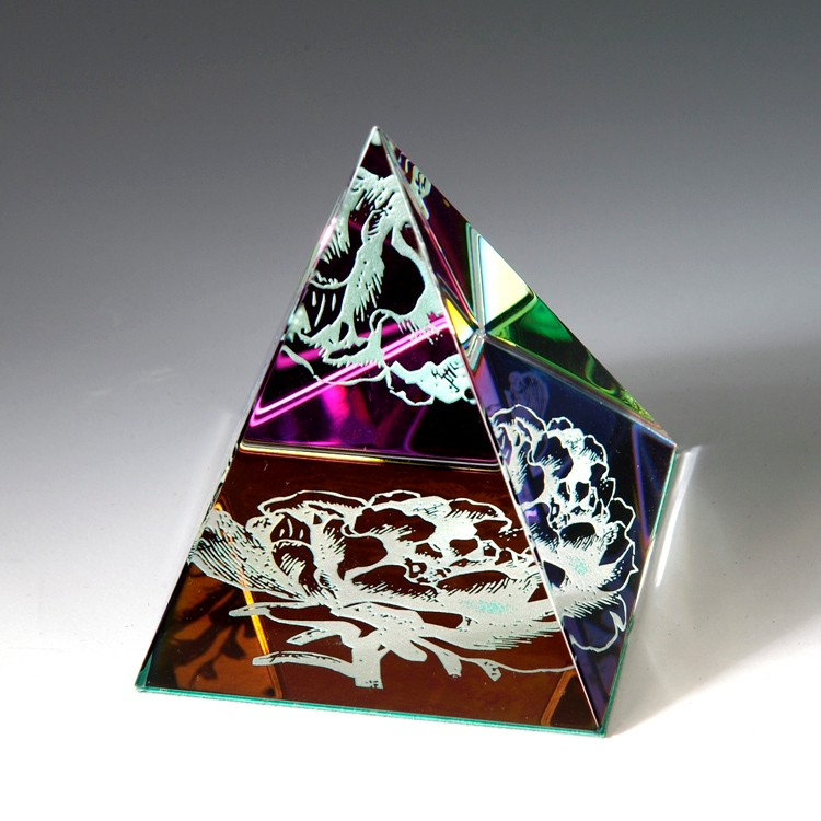 Award- Awards, Trophy,Rainbow Colored Pyramid 2-1/8