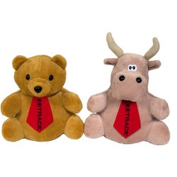 10 Reversible Tan Bear / Bull with ties and one color imprints