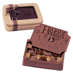 1.25 lb Large Custom Chocolate Edible Box in Gift Tin - Chocolate Box