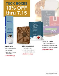Sales flyer for custom printed tuck boxes from Warwick Publishing