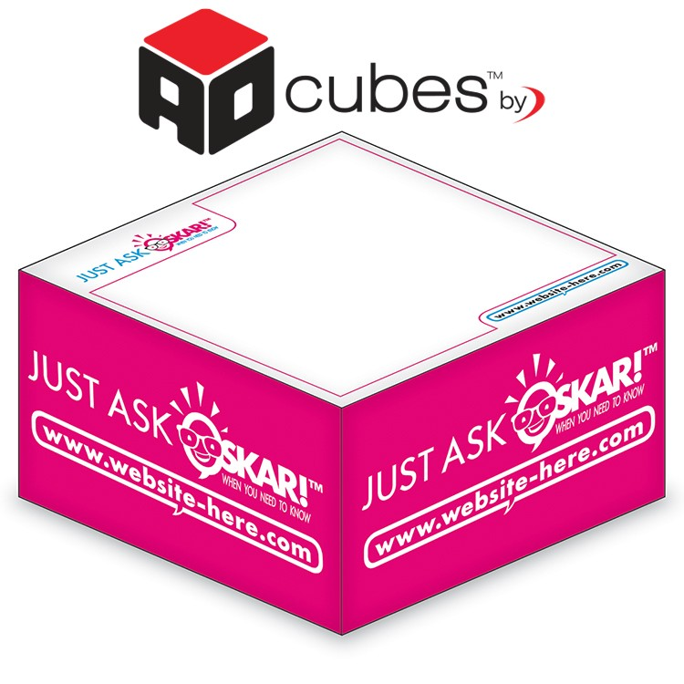 Ad Cubes™ - Memo Notes - 3.375x3.375x1.6875-1 Color, 1 Side Design