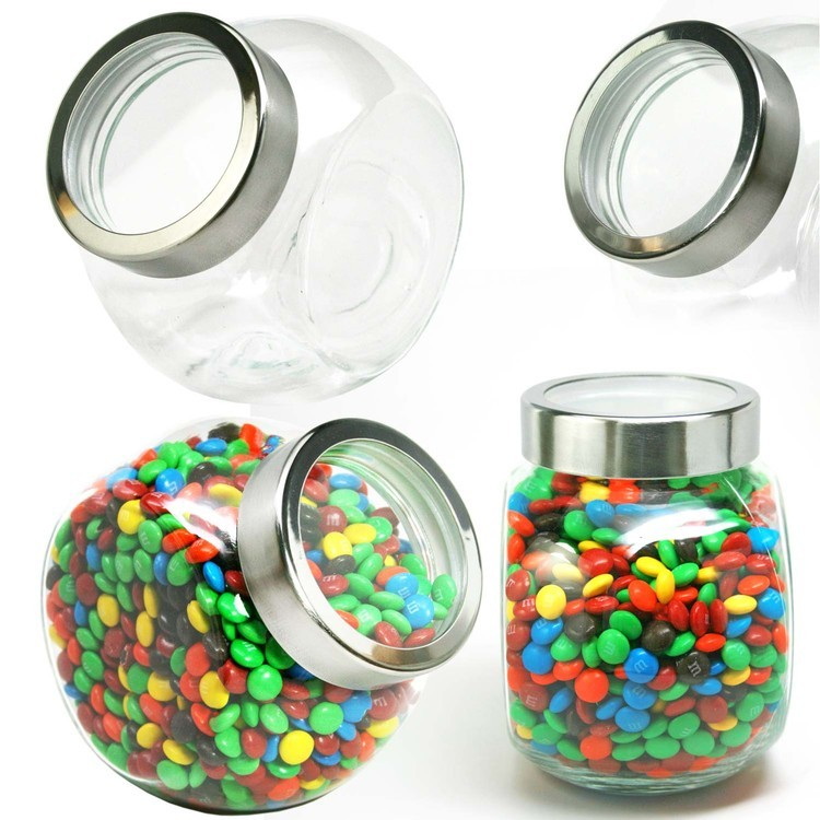 Desktop GLASS Jar Large with See Thru Lid Hard Candy