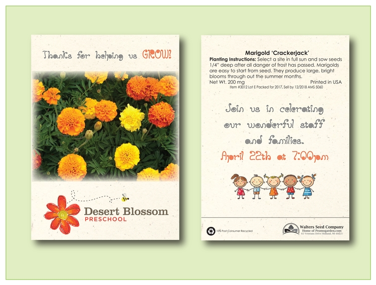 Marigold Seed Packet - Imprinted Seed Packet