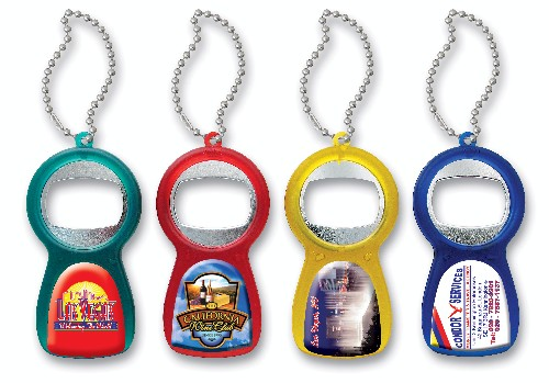Translucent Bottle Opener w/ Dome Imprint & Keychain