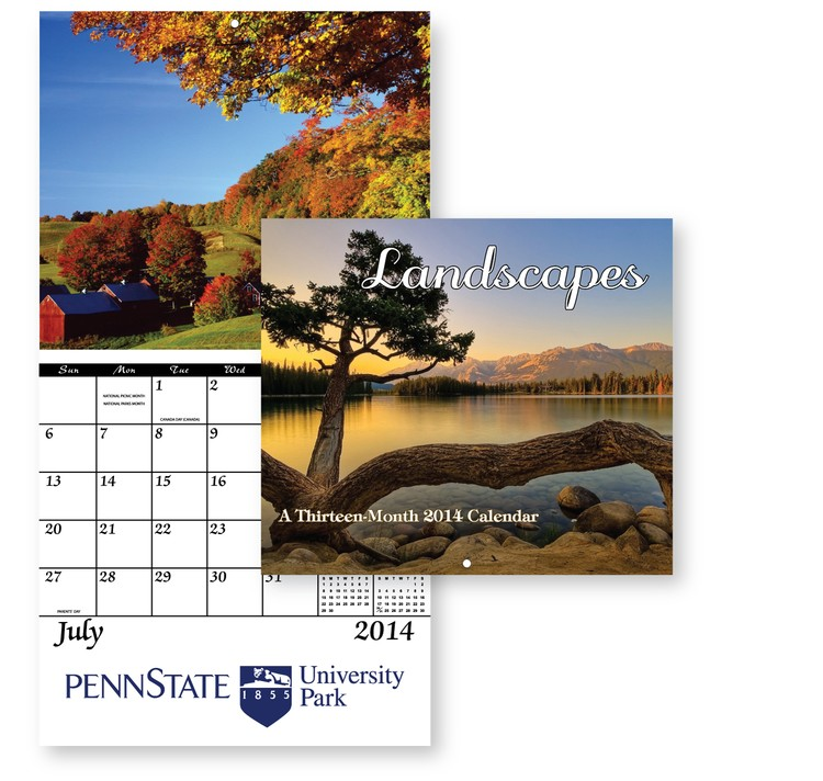 13 Month Wall Calendar Landscapes