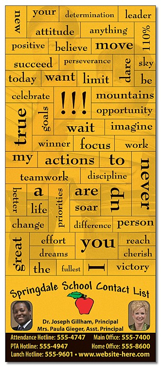 School Magna-Phrase Magnet - 3.5x8.25 with Business Card Magnet - 25 mil.