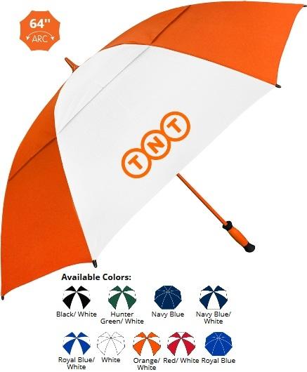 64 Inch All Fiberglass Auto-Open Vented Golf Umbrella SALE - HALF OFF ARTWORK SETUP Until May 31!