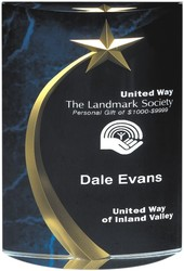 6 3/4 Blue Marble Acrylic Shooting Star Award (Rounded)