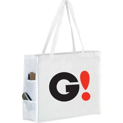 Non-woven Shoulder Tote with Side Pockets - Y2KP20616 - Silk Screened