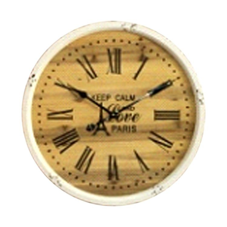 24 Inch Wall Clock With Wooden Backdrop Dic10239 No Strings Attached