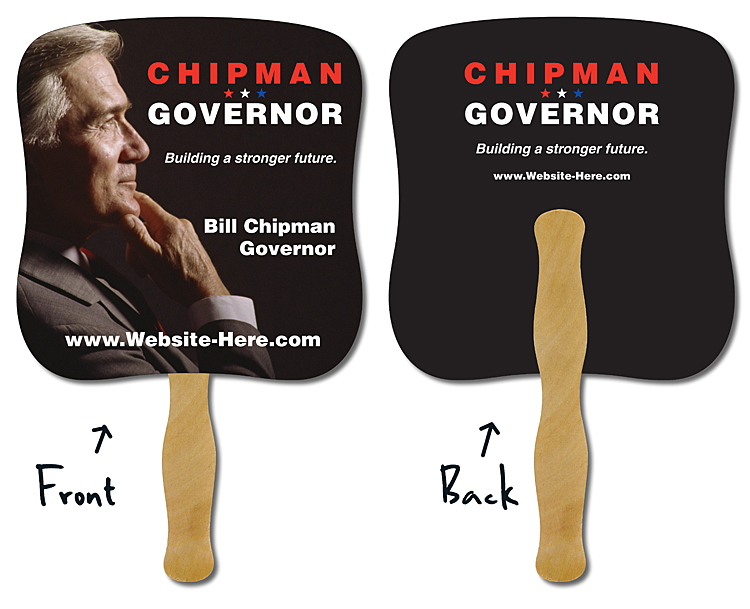 Political Hand Fan - 7.375x7.75 Laminated -14 pt.