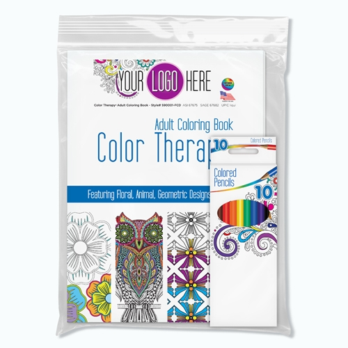 Color Therapy™ 24 Page Adult Coloring Book with Colored Pencils