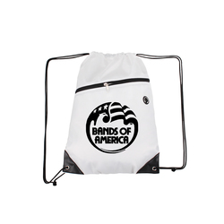 White Drawstring Backpacks with Front Zipper Pocket