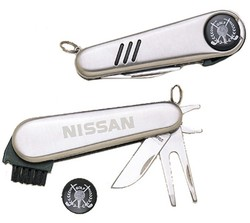 FIVE FUNCTION GOLF TOOL, KNIFE, CLEAT TOOL, DIVOT TOOL, BRUSH.