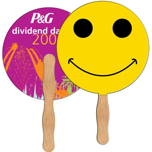 Laminated Stick Fan Smiley Face Lf 039