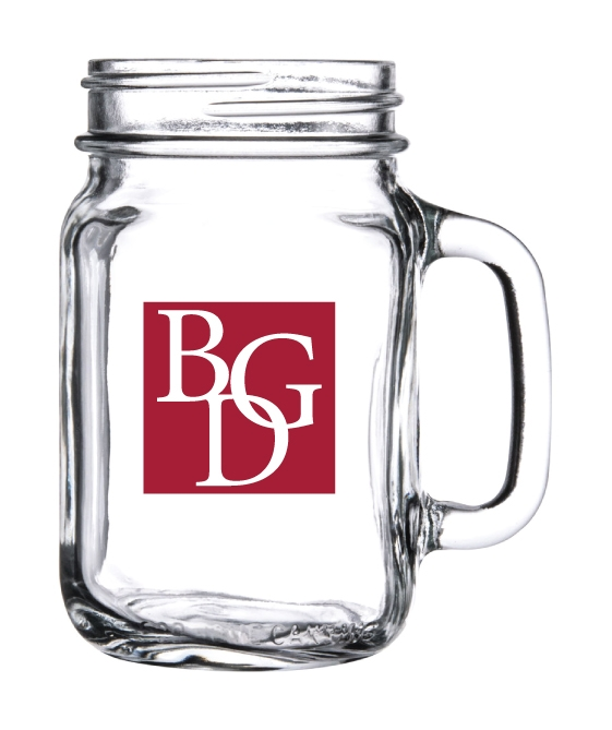 Glass Handled Drinking Jar / Jug, 16 oz.