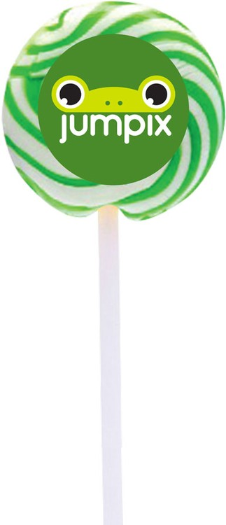 Lime Swirl Lollipop with Round Label