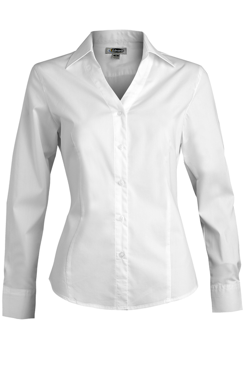 LADIES' V-NECK TAILORED STRETCH BLOUSE-LONG SLEEVE