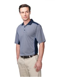 Men's 5.2 oz. 100% polyester yarn-dyed mini stripe polo with solid mesh shoulder and side panels. - ACCOLADE