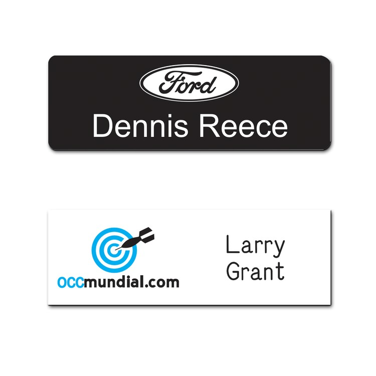 The Olympic screen printed and engraved name badge on non-metallic plastic  up to 3 sq