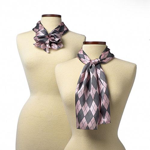 8 x 45 Pink Argyle Silk Scarf
