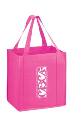 Pink Non-woven Polypropylene Grocery Tote - Awareness - Y2KG12813 - Silk Screened
