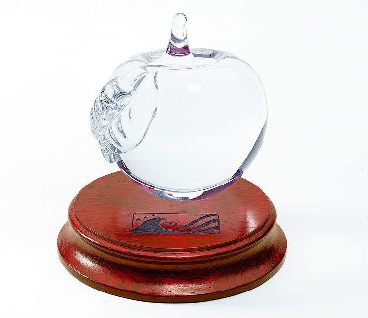 Glass Apple on Solid Rosewood Base